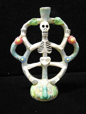 VINTAGE POTTERY MEXICAN DAY OF THE DEAD SKELETON TREE OF LIFE CANDLE HOLDER sgnd