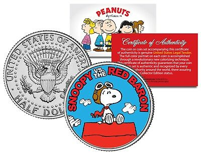 Peanuts SNOOPY vs. RED BARON JFK Kennedy Half Dollar US Coin OFFICIALLY LICENSED