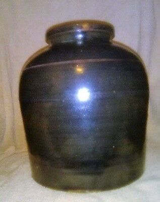 Slightly Ovoid Two Gallon Hand Turned Stoneware Crock or Preserve Jar