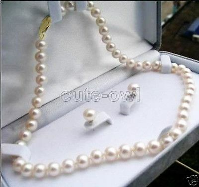 """Genuine 7-8mm Natural White Akoya Cultured Pearl Earrings Necklace Set 18"""""""