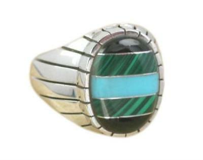 925 Sterling Silver Men's Onyx Malachite Turquoise Engraved Oval Thick Ring