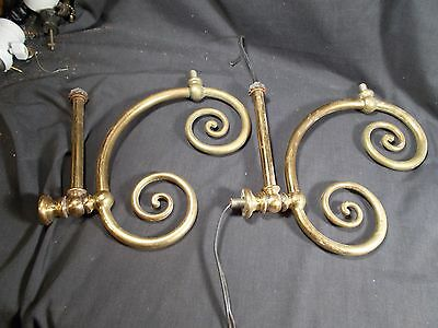 Vtg Pair of Electric Brass Arms for Victorian Chandelier Fixture Sconce c1900s