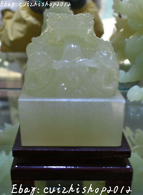 100% Real Natural White Jade Carve Dragon Dragons Loong Animal Seal Stamp Signet