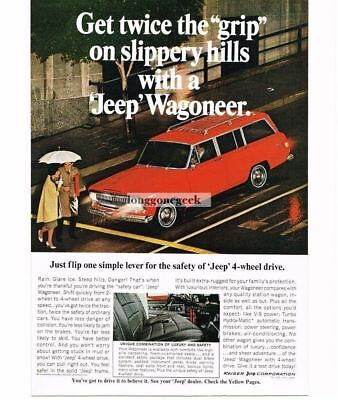 1967 Jeep Red Wagoneer Automobile Car Rainy City Streets Vtg Print Ad