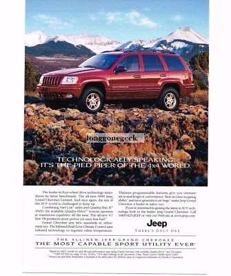 1999 Jeep GRAND CHEROKEE Flame Red 4-door 4x4 1998 Vtg Print Ad