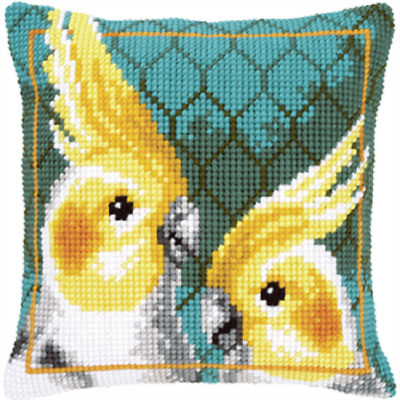 Cockatiels - Large Holed Printed Tapestry Canvas Cushion Kit/Chunky Cross Stitch