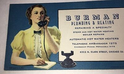 Old Antique Phone Sexy Pin Up Girl Blotter Burman Plumbing Heating Chicago
