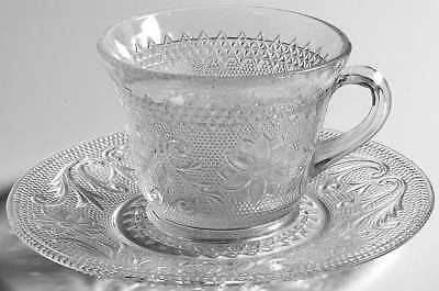 Indiana Glass SANDWICH CLEAR Cup & Saucer 240034