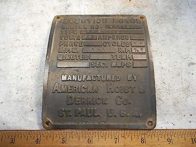 Vintage ST PAUL MN INDUCTION MOTOR Heavy Brass Industrial Motor Plate/Plaque NOS