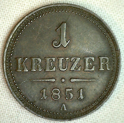 1851 A Austria Kreuzer AU KM#2185 Copper World Coin #P