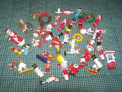 43 Vintage Hand Painted Wooden Christmas Ornaments Taiwan