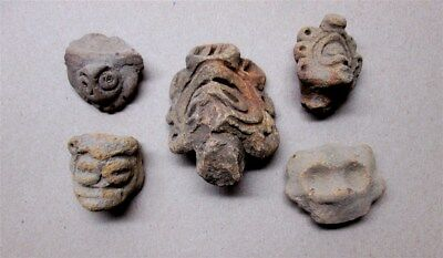 Puerto-Rico, Mexico, Pre Columbian Taino Terracotta Pottery /Clay Head's Shards,
