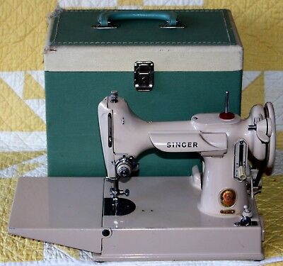 1961 Tan Singer Featherweight 221J Sewing Machine with Case & Extra Accessories