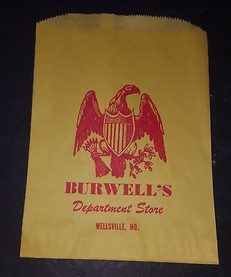 NEW Vintage BURWELL'S Department Store Bag Wellsville, MO.