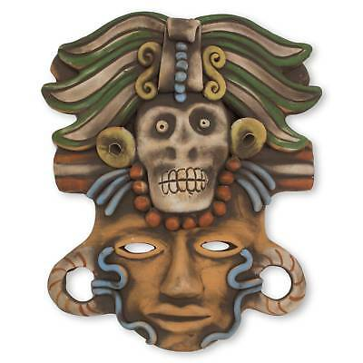 'Death Cult Priest' Ceramic Mask Aztec Archaeology Handmade NOVICA Mexico