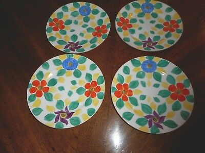 "4 Hand Painted Moravian Art Deco Phoenix China 7 1/2"" Plates Czechoslovakia"