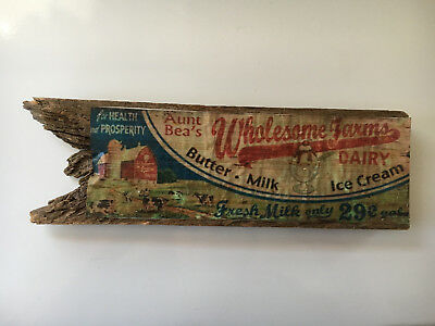 Vintage Aunt Bea's Whomesome Farms Dairy Advertising Sign on Wood