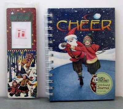 "Mary Engelbreit WIRE-BOUND JOURNAL ""CHEER"" + PHOTO BOOKMARK Christmas Santa NIP"