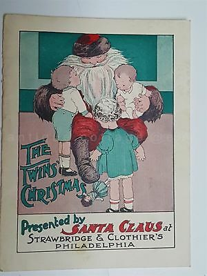 1921 antique STRAWBRIDGE CLOTHIER'S toy CHRISTMAS BOOK child SANTA CLAUS TWINS