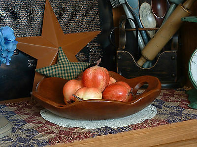 Vintage Primitive Mid Century Scalloped Collectible Wood Wooden Bowl-12""