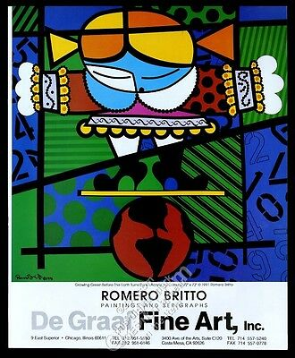 1991 Romero Britto girl and earth art Chicago gallery vintage print ad