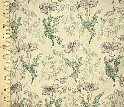 1YD VINTAGE NOUVEAU POPPY Floral Botanical OPEN Cottage Shabby Chic Fabric Plum