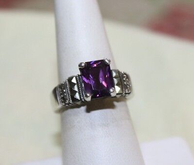Vintage Sterling Silver Amethyst Marcasite Ring Size 7 Very Nice