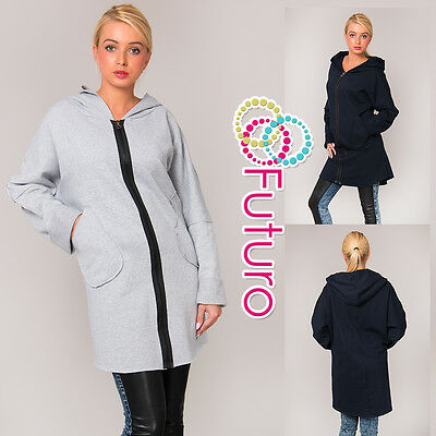 Ladies Hooded Coat With Zip & Pockets Outdoor Warm Long Jacket Size 8-12 FT1393