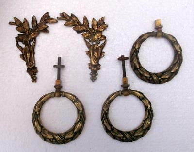 3 Matching Vintage French Empire Bronze Handles & 2 Furniture Embellishments