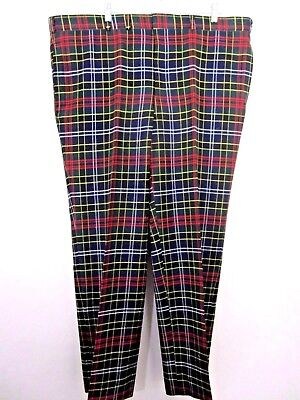 Vintage Custom Mens Stewart Green Tartan Plaid Wool Pants Flat Front 42x30 in.