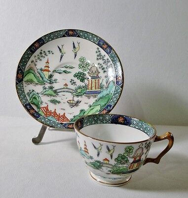 Crown Staffordshire CHINESE WILLOW Cup & Saucer MINT