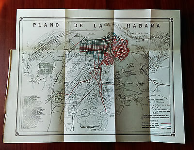 1900 Sketch Map City of Havana Cuba Showing Paved Roads Spanish American War