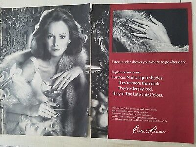 1973 Estee Lauder copper rose gold punch Cola colors after dark cosmetic ad