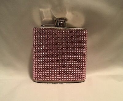 Brand New Stainless Steel 6 Oz. Flask Silver with Pink Sequins / Rhinestone