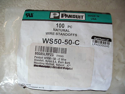 Panduit WS50-50-C Nylon 6.6 Push Barb, Wire Standoff Clamp Clip, Pack of 100