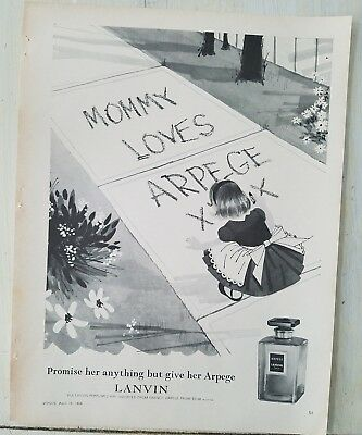1964 mommy loves Lanvin Arpege perfume sidewalk chalk little girl ad