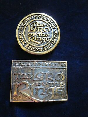 2 (TWO!) brass Lord of the Rings belt buckles different shapes 1979 USA