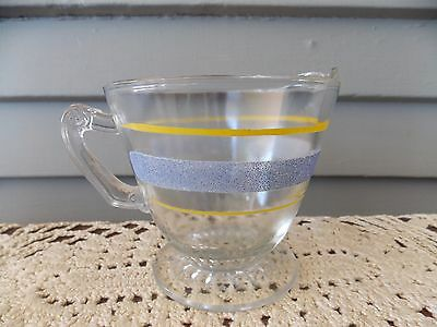 Vintage Bartlett Collins Footed Clear Glass Creamer Pitcher with Blue & Yellow