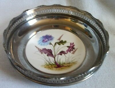 early 1900's  nickel plated brass bowl with hand painted porcelain bottom
