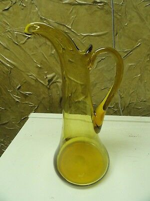 Large Vintage Hand Blown Amber Glass Pitcher / Ewer