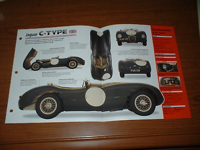 ★★1953 Jaguar C-Type Spec Sheet Brochure Photo Poster Info 53 52 51 Ctype ★★