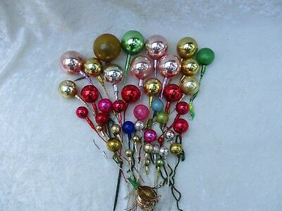 Vintage Lot of Multi-Colored Mercury Glass Ball Ornament Stick/Picks