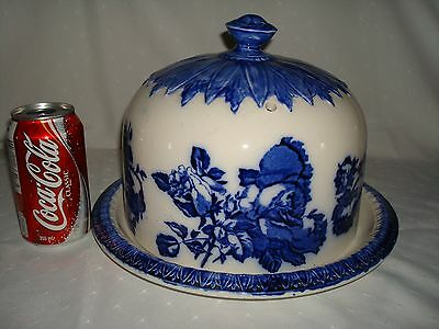 Old Large Victoria Ironstone Flow Blue & White Cheese Dome Staffordshire