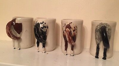 Lot Of 4 Happy Appy Valley Studios Mug - 3D Horse backsides - Appaloosa and more