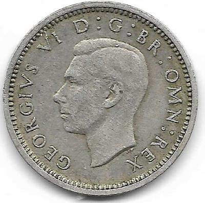 Great Britain 1943 Three Pence Coin - Very Nice Condition