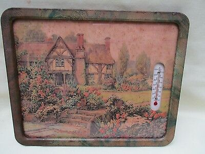 Vintage Metal Framed Cottage Print with Thermometer