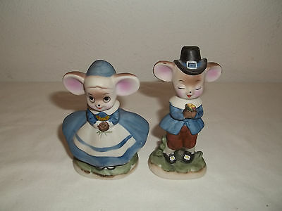 """Treasure Masters Colonial Boy And Girl Mouse Figurines 3 3/8"""" Tall"""