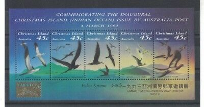1993 Christmas Island Birds SG MS 377 Taipei '93 gold overprint muh