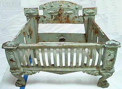 Antique Cast Iron Fireplace Insert For Wood Or Electric Bulb With Glass Coal