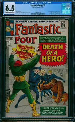 Fantastic Four # 32  Death of a Hero !  CGC 6.5  scarce book !